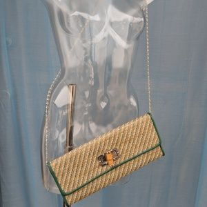 Straw Clutch with Bamboo Closure